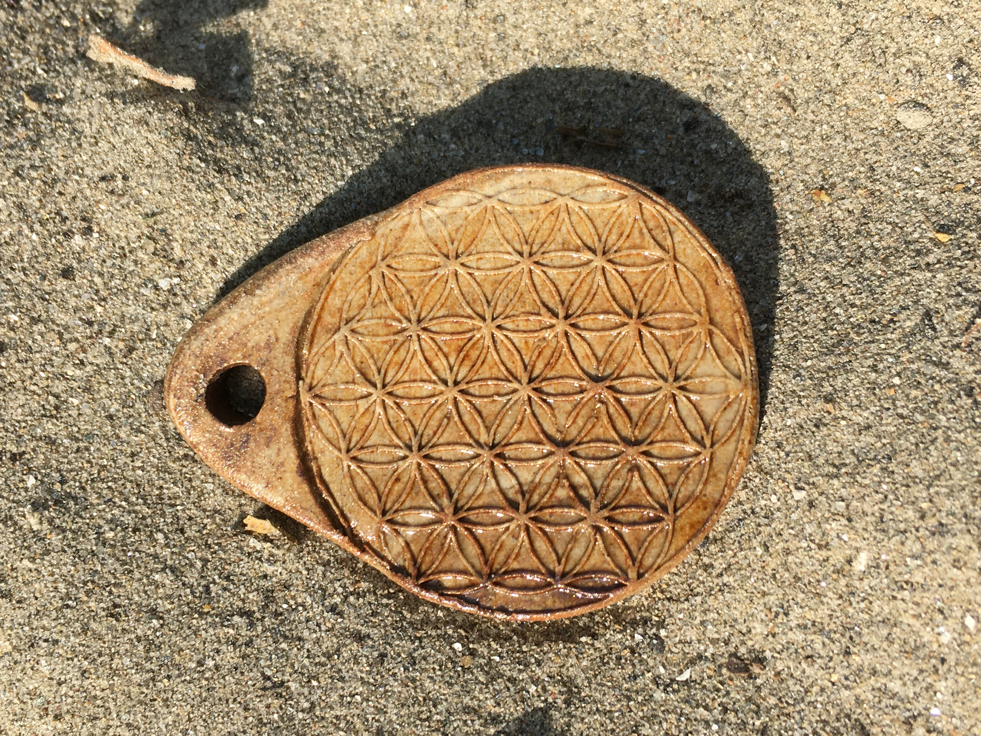 Amulett mit Agnihotra-Asche Blume des Lebens