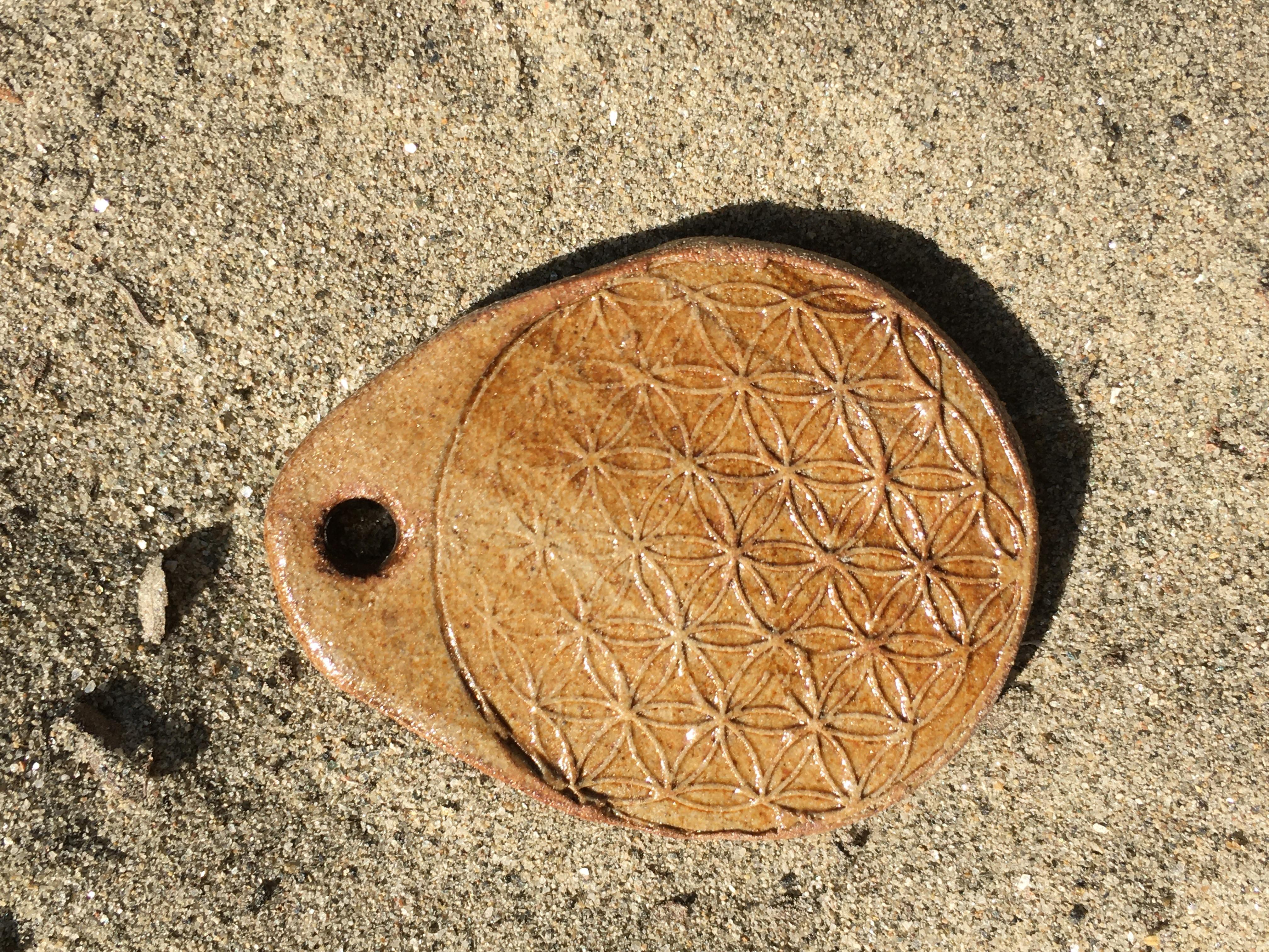 Amulett mit Agnihotra-Asche Blume des Lebens (2)