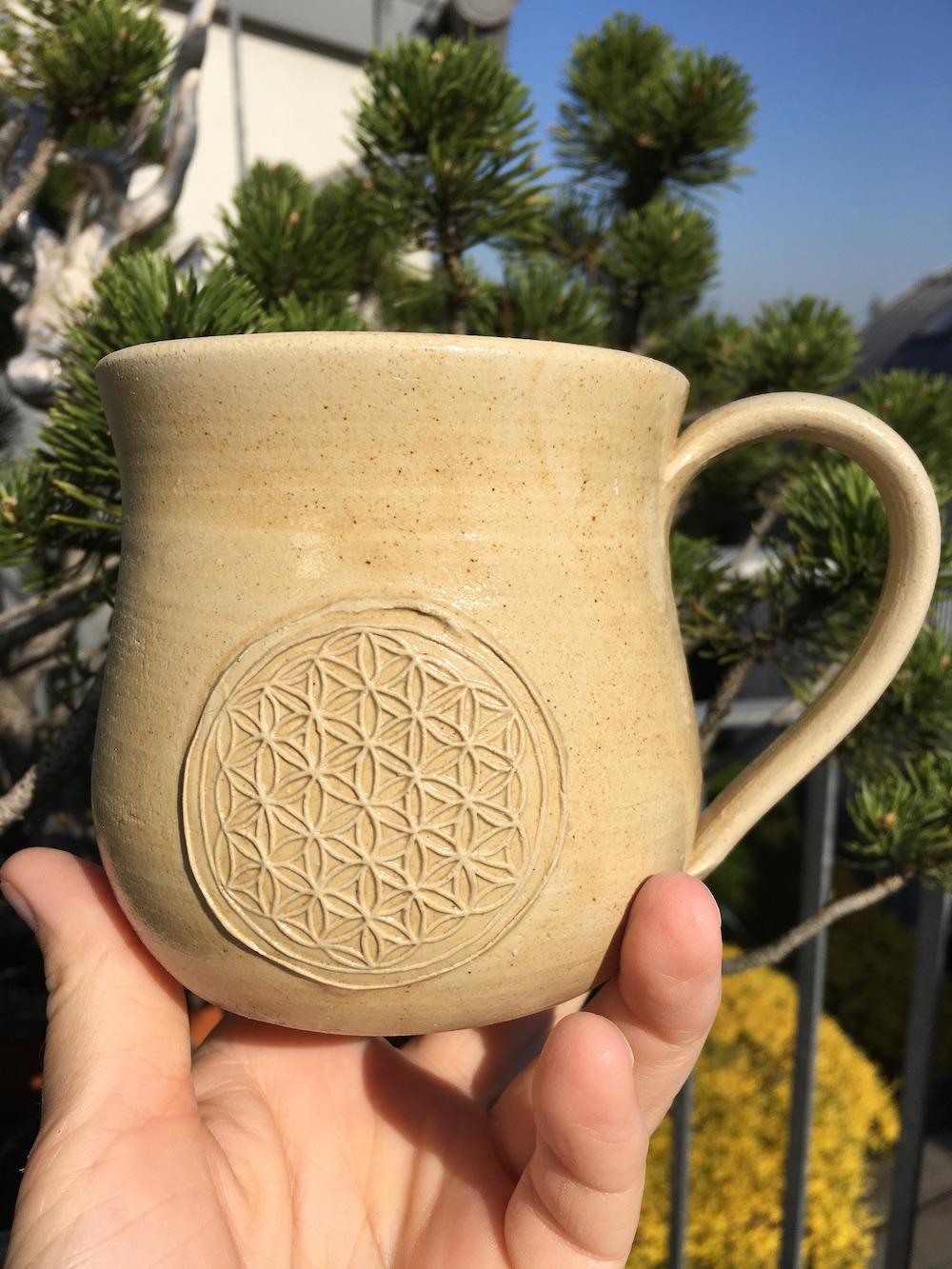 Tasse mit Blume des Lebens und Agnihotraasche