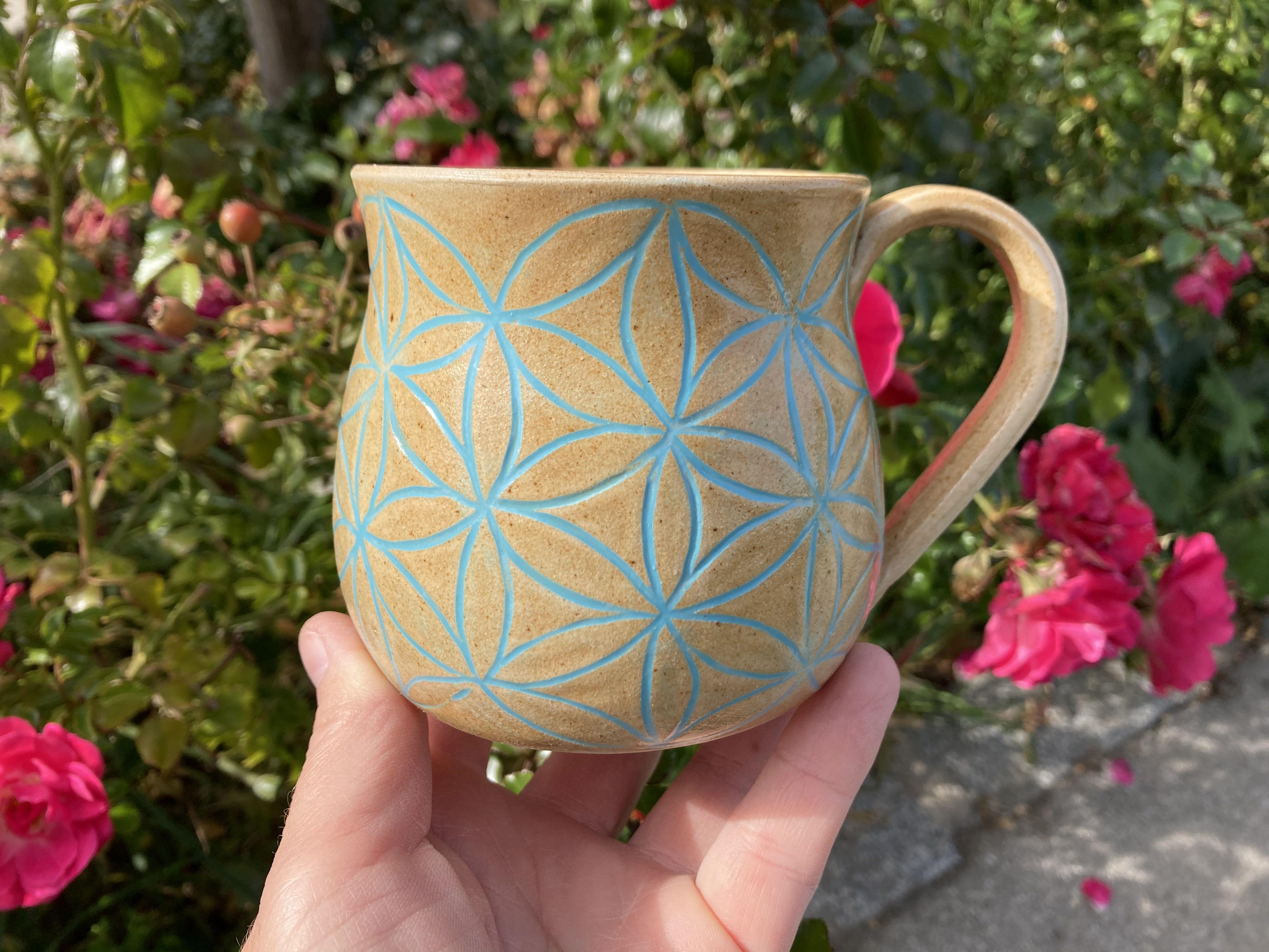 Tasse Blume des Lebens aus Agnihotra-Keramik